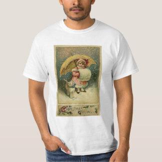 Victoriaans Vintage Retro Kerstmis van het Kind en T Shirt