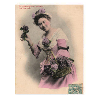 Victoriaans violet damebriefkaart briefkaart