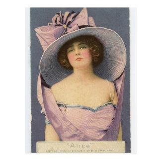 Victoriaans vrouwen in paars kledingsbriefkaart briefkaart