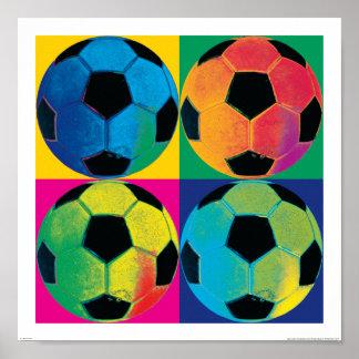 Vier Ballen van het Voetbal in Verschillende Poster