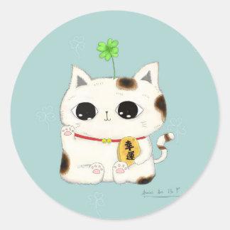 vier blad klaver-gelukkige kat ronde stickers