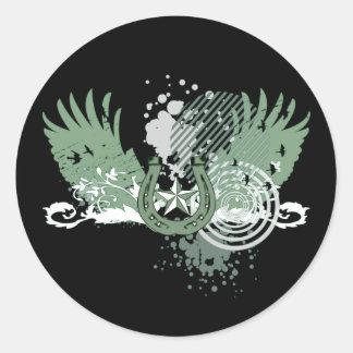 vier bladklaver: hifi: ronde sticker