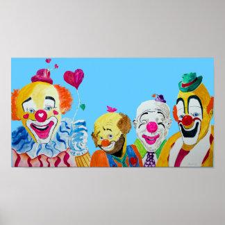 Vier Clowns drukken Poster