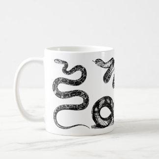 Vier Grafische Slangen Koffiemok