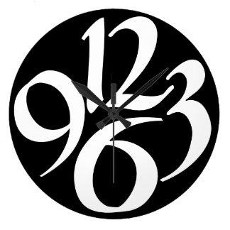Vier grote witte aantallen op zwarte grote klok