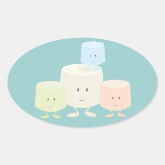 Vier heemst die samen glimlachen ovale sticker