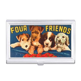 Vier Honden van de Advertentie van Vrienden Visitekaarthouder