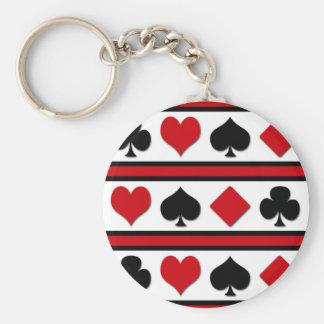 Vier kaartkostuums basic ronde button sleutelhanger
