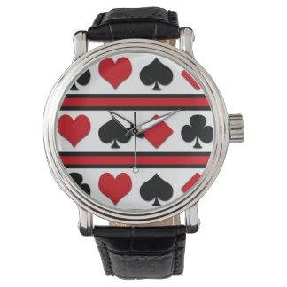 Vier kaartkostuums horloges