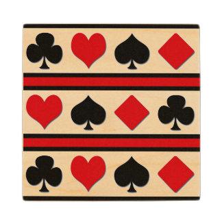 Vier kaartkostuums houten onderzetter