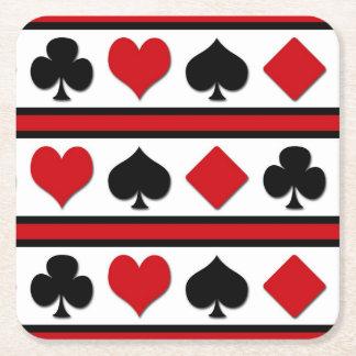 Vier kaartkostuums vierkante onderzetter