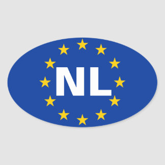 "VIER Nederland ""NL "" Ovaalvormige Stickers"