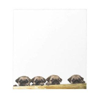 Vier Pugs Blocnote
