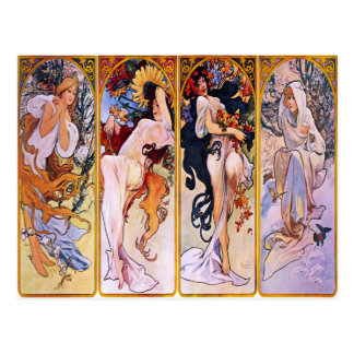 Vier Seizoenen door Alphonse Mucha 1895 Briefkaart