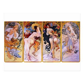Vier Seizoenen door Alphonse Mucha Briefkaart