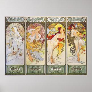 Vier Seizoenen door Alphonse Mucha Poster