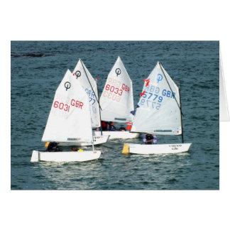 Vier varende boten van de Optimist Wenskaart