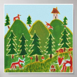 Vier Vossen op heuvels het schilderen Poster