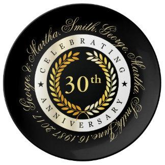Vierende 30ste Verjaardag Porselein Bord