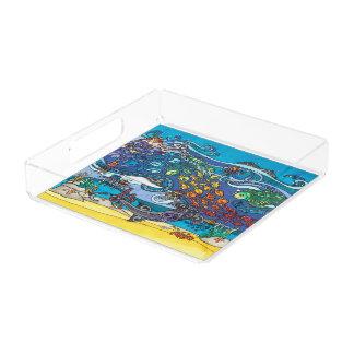 Vierkant AcrylDienblad: Onder de Reeks van het Zee Acryl Dienblad