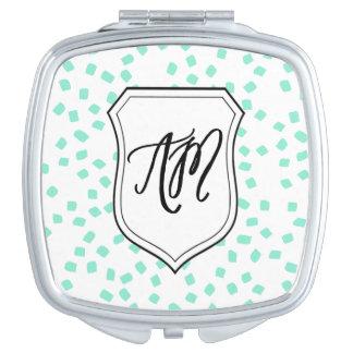Vierkant Compact met de Initialen van het Monogram Makeup Spiegeltjes