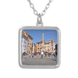 Vierkant in Rome, Italië Zilver Vergulden Ketting