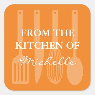 Vierkant van de keuken van het koken van vierkante sticker