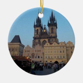Vierkant van de Stad van de Tsjechische Republiek Rond Keramisch Ornament