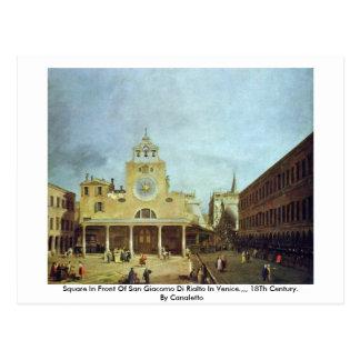 Vierkant voor San Giacomo Di Rialto In Venetië Briefkaart