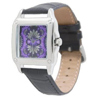 Vierkant zwart fractal van het leerhorloge horloge