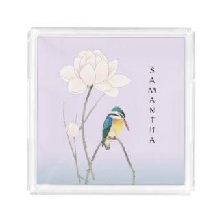 Vierkante Dienblad van de Vintage Ijsvogel van het