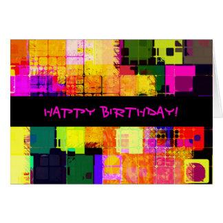 Vierkante Geometrische Gelukkige Verjaardag Kaart