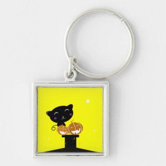 Vierkante knoop met Zwarte kat Zilverkleurige Vierkante Sleutelhanger