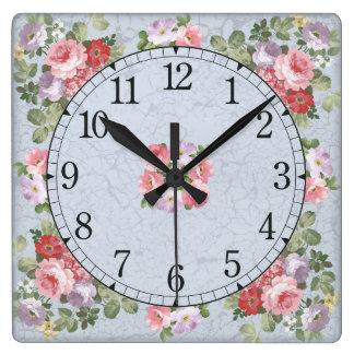 Vierkante muurklok - bloemenontwerp vierkante klok