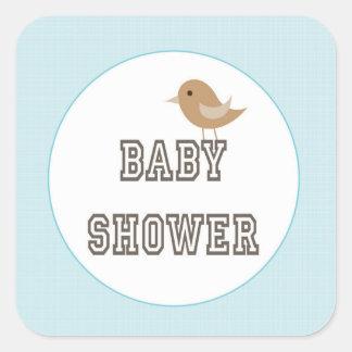 Vierkante Stickers, Glanzende/baby showerjongen Vierkante Stickers