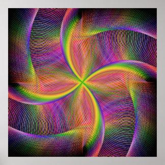Vierkantige regenboog poster