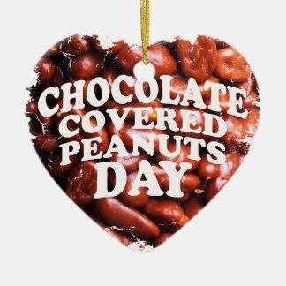 Vijfentwintigste de Februar chocolade-Behandelde Keramisch Hart Ornament
