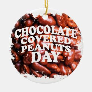 Vijfentwintigste de Februar chocolade-Behandelde Rond Keramisch Ornament