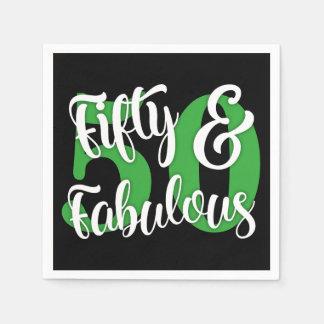 Vijftig & Fabelachtig Wit en de Groene Typografie Papieren Servetten