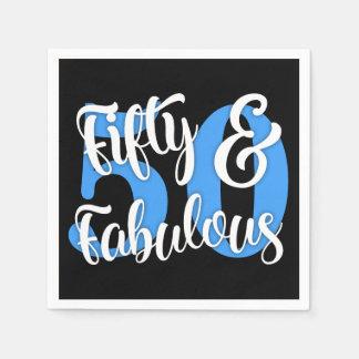Vijftig & Fabelachtige Witte en Blauwe Typografie Wegwerp Servetten