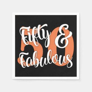 Vijftig & Fabelachtige Witte en Oranje Typografie Papieren Servetten