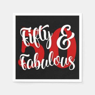 Vijftig & Fabelachtige Witte en Rode Typografie Papieren Servetten