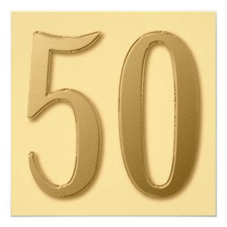 Vijftig zijn Gouden 13,3x13,3 Vierkante Uitnodiging Kaart