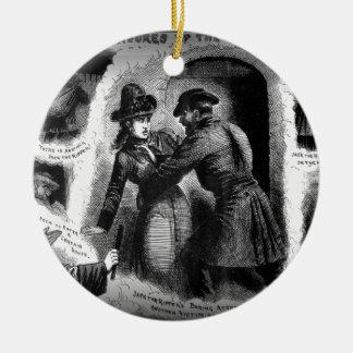 Vijzel de schulpzaag-Geïllustreerde Politie Rond Keramisch Ornament