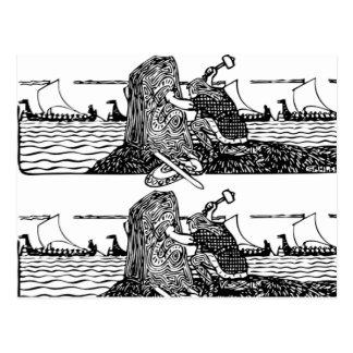 Viking die Runen snijden Briefkaart
