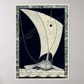 Viking Longship die bij Nacht varen Poster