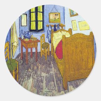 Vincent van Gogh 1888 de Slaapkamer in Arles Ronde Sticker