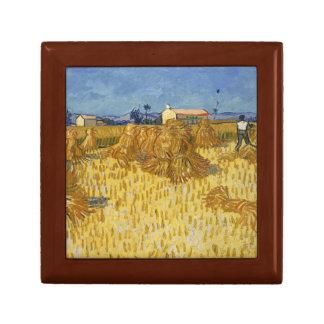 Vincent van Gogh - de Oogst van het Graan in de Vierkant Opbergdoosje Small