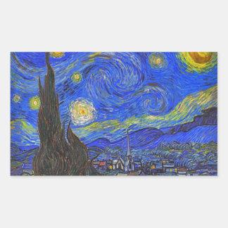 Vincent van Gogh - de Sterrige Nacht (1889) Rechthoekige Sticker