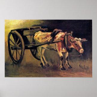 Vincent van Gogh - Kar met Rode en Witte Os Poster